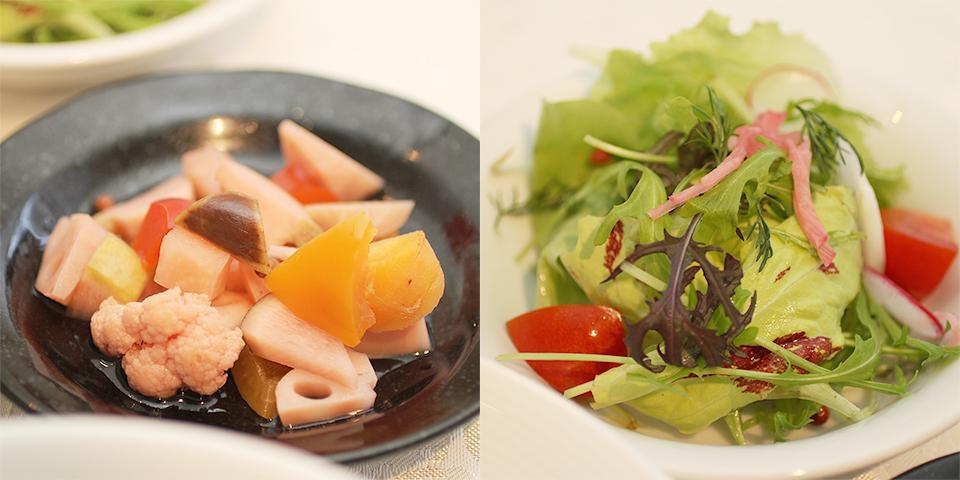 自家製ピクルスと、自家農園で無農薬栽培した野菜を使ったサラダ。
